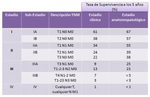 Estadios del cáncer de pulmón no microcítico